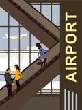 Escalator dans le bâtiment d'aéroport illustration de vecteur