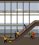 Escalator dans le bâtiment d'aéroport illustration stock