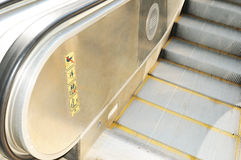 Escalator detail. Close up of modern escalator staircase Stock Photo