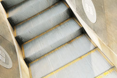 Escalator detail. Close up of modern escalator staircase Royalty Free Stock Photography