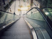 Escalator in front of the mall. In fontt outside the mall Stock Photos