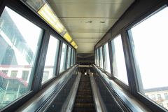 Escalator going up to train station in new york city stock photography