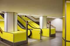 Escalator in Hamburg tube Royalty Free Stock Images