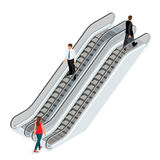 Escalator image. Isometric Escalator illustration. Elevator JPG. Modern architecture stair, lift and elevator, Escalator Stock Photo