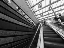 Escalator indoors in a building Stock Photo