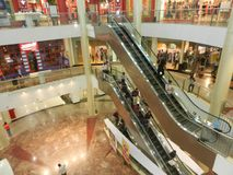People are walking ans shopping at viviana mall, mumbai, india, 23rd September 2017. Escalator inside mall: People are walking ans shopping at viviana mall Royalty Free Stock Photo