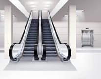 Escalator Interior Realistic Concept Royalty Free Stock Image