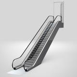 Escalator leading up to open door Stock Photos