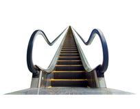 Escalator leading upward, isolated on white Royalty Free Stock Images
