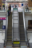 Escalator. Liverpool street train station with lots of people. London Royalty Free Stock Images