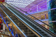 Escalator in mall Aviapark. MOSCOW - May 4, 2015: escalator in mall Aviapark, the largest shopping center in Europe Stock Images