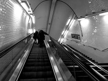 Escalator. Mecanic stairs in the metropolitan underground Paris France Royalty Free Stock Photo