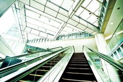 Escalator in modern business center Royalty Free Stock Images