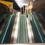 Escalator in motion at night Royalty Free Stock Images