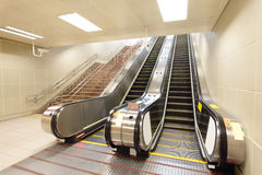 The escalator moving at metro station Stock Photo