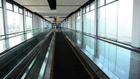 Escalator is a moving staircase in Bangkok stock video