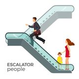 Escalator moving staircase consisting of endlessly circulating steps Stock Photos