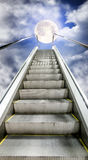 The escalator is moving up to the starry sky with a  moon Royalty Free Stock Photography