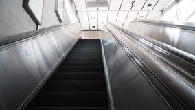 Escalator in selective focus at thailand. Escalator at MRT station in Thailand Royalty Free Stock Images