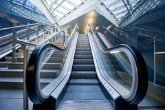 Escalator. A panoramic angle of escalator Royalty Free Stock Photography