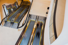 Escalator with person movemont in blur from high Angle view Royalty Free Stock Photos