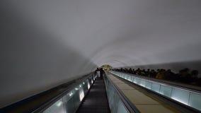 Escalator in Puhung Station. Mangyongdae Line of the Pyongyang Metro. DPRK - North Korea. May 01, 2017. UHD - 4K stock video footage