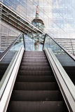 Escalator and the reflected rhine tower Royalty Free Stock Photos
