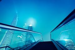 Escalator and shanghai skyline at night Royalty Free Stock Photography