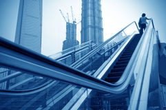 Escalator of Shanghai streets Stock Photo