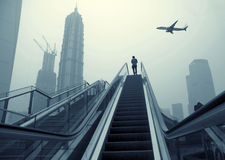 Escalator of Shanghai streets Stock Image