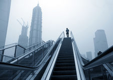 Escalator of Shanghai streets Royalty Free Stock Image