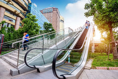 Escalator of Shanghai streets Stock Photography