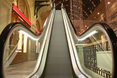 Escalator in shop. Moscow russia Royalty Free Stock Photo