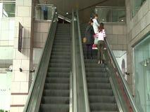 Escalator in shopping center stock video