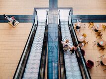 Escalator in shopping mall Royalty Free Stock Photo