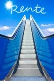 Escalator sky rente german retirement. Escalator into a blue sky, concept of achievement, german text RENTE, meaning retirement or pension Stock Photo