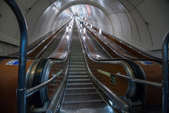 Escalator of the St. Petersburg subway. St. Petersburg, Russia - March 20, 2017: Metro escalator during the minimum transport load Stock Photo