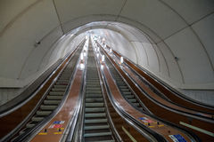 Escalator of the St. Petersburg subway. St. Petersburg, Russia - March 20, 2017: Metro escalator during the minimum transport load Royalty Free Stock Photography