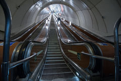 Escalator of the St. Petersburg subway. St. Petersburg, Russia - March 20, 2017: Metro escalator during the minimum transport load Royalty Free Stock Image