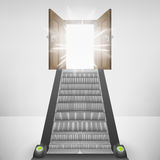 Escalator staircase leading to heaven door flare. Vector illustration Stock Images