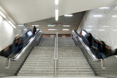 Escalator stairs with crowd Stock Photo