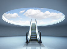 Escalator stairway to success Royalty Free Stock Image