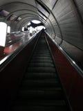 Escalator from subway station. Shablovskaya, Moscow, Russia - February 12, 2017: Escalator from subway station to Moscow city Stock Image
