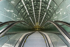Escalator in subway station  - Top view - Nobody - Contemporary. Architecture - Transportation Background - horizontal image Stock Image