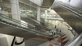 Escalator time lapse of crowded people stock video