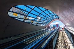 Escalator to a bicycle underground parking in Eindhoven, Netherlands Royalty Free Stock Images