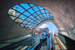 Escalator to a bicycle underground parking in Eindhoven, Netherlands Royalty Free Stock Image