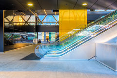 Escalator to the Crossrail station in Canary Wharf. London, UK - September 21, 2016 - Escalator to the Crossrail station in Canary Wharf Stock Images