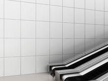 Escalator, Up and down escalators in public building. Office building or subway station. 3d rendering Stock Images
