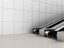 Escalator, Up and down escalators in public building. Office building or subway station. 3d rendering Royalty Free Stock Photos